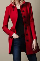 Burberry Brit Wool Twill Dress Coat - Lyst