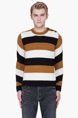 Carven Tan Striped Merino Wool Sweater - Lyst