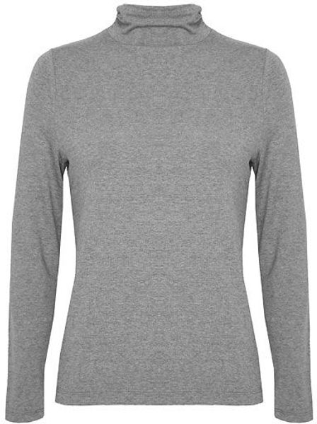 Dash Ruched Side Polo Neck in Gray (grey)