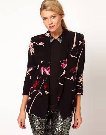 French Connection Printed Long Line Blazer - Lyst