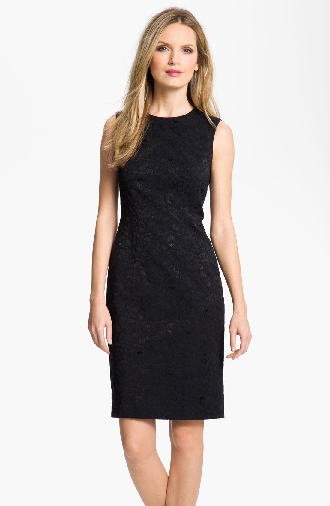louben lace sheath dress in black lyst