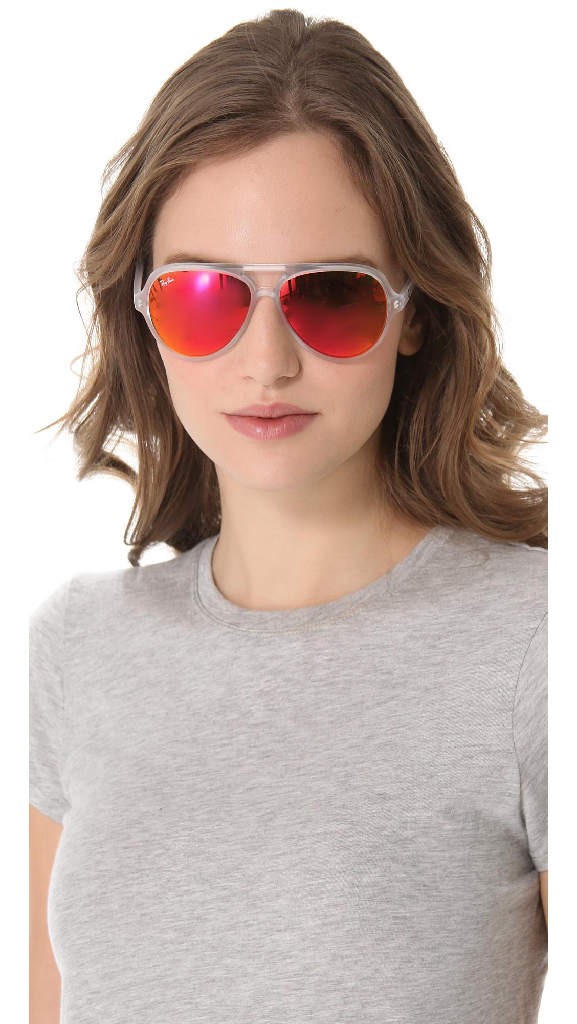 cc646e7261f Lyst - Ray-Ban Mirrored Cats Aviator Sunglasses