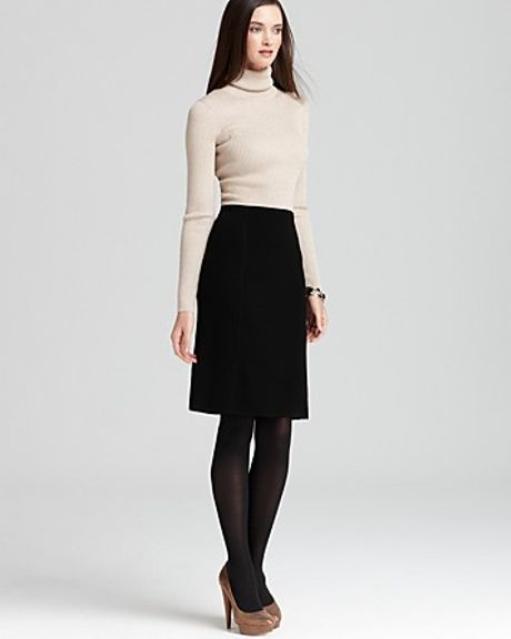 Anne Klein Long Sleeve Turtleneck Dress in Black (champagne black