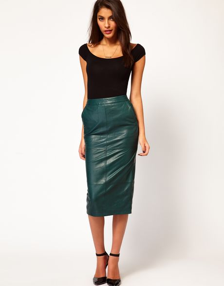 glamorous pencil skirt in leather in green lyst