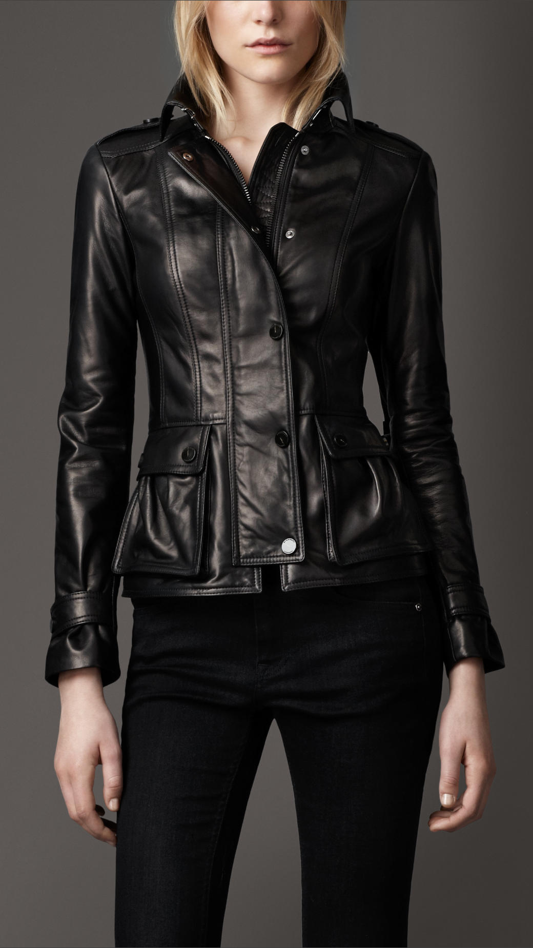Lyst Burberry Bellow Pockets Leather Jacket In Black