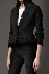 Burberry Merino Wool Peplum Jacket in Black - Lyst