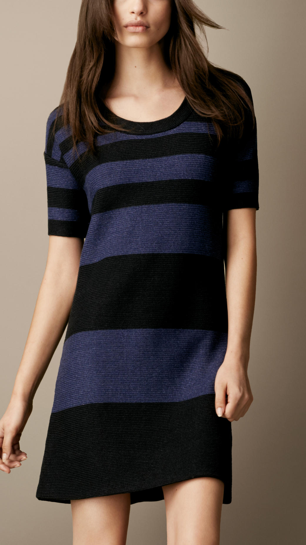 6102b52beb Lyst - Burberry Brit Cotton Linen Striped Dress in Blue
