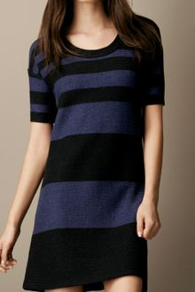 Burberry Brit Cotton Linen Striped Dress - Lyst