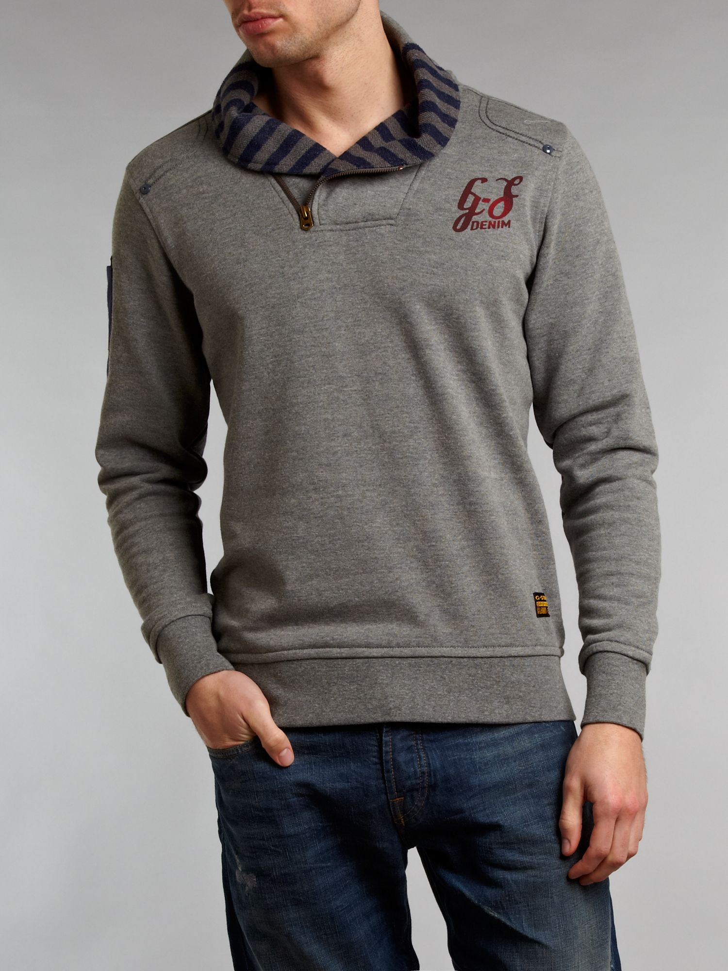 G star raw half zip through sweat shirt in gray for men lyst for How to not sweat through a shirt