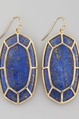 Kendra Scott Framed Cabochon Earrings Lapis Lazuli - Lyst