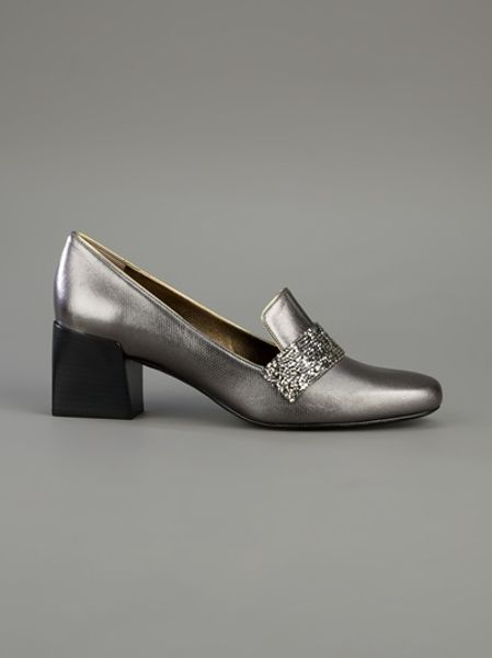 Lanvin Block Heeled Loafer In Silver Lyst