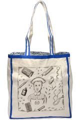 Olympia Le-Tan Exclusives Nurse Printed Canvas Tote Bag