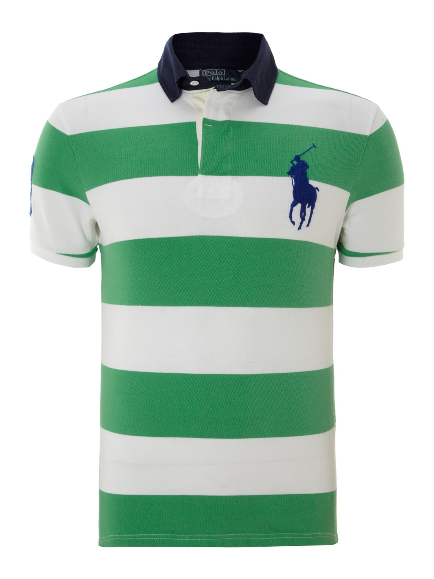 Polo ralph lauren Contrast Collar Block Striped Polo Shirt in ...