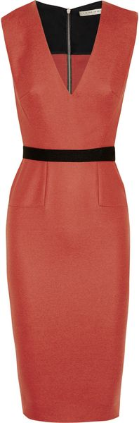 Victoria Beckham Belted Stretch Woolblend Dress in Red - Lyst