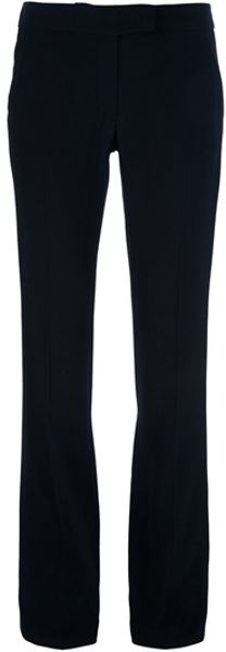 Alexander Mcqueen Silk Piping Straightcut Trouser in Black