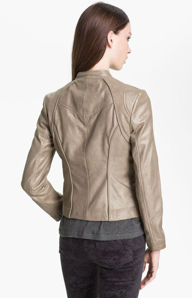 Bernardo Metallic Leather Scuba Jacket In Brown Stardust
