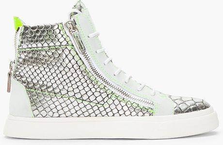 Giuseppe Zanotti Metallic Silver Scaled London Sneakers in Silver for Men