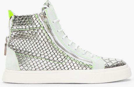 Giuseppe Zanotti Metallic Silver Scaled London Sneakers in Silver for Men