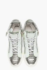 Giuseppe Zanotti Metallic Silver Scaled London Sneakers in Silver for Men - Lyst