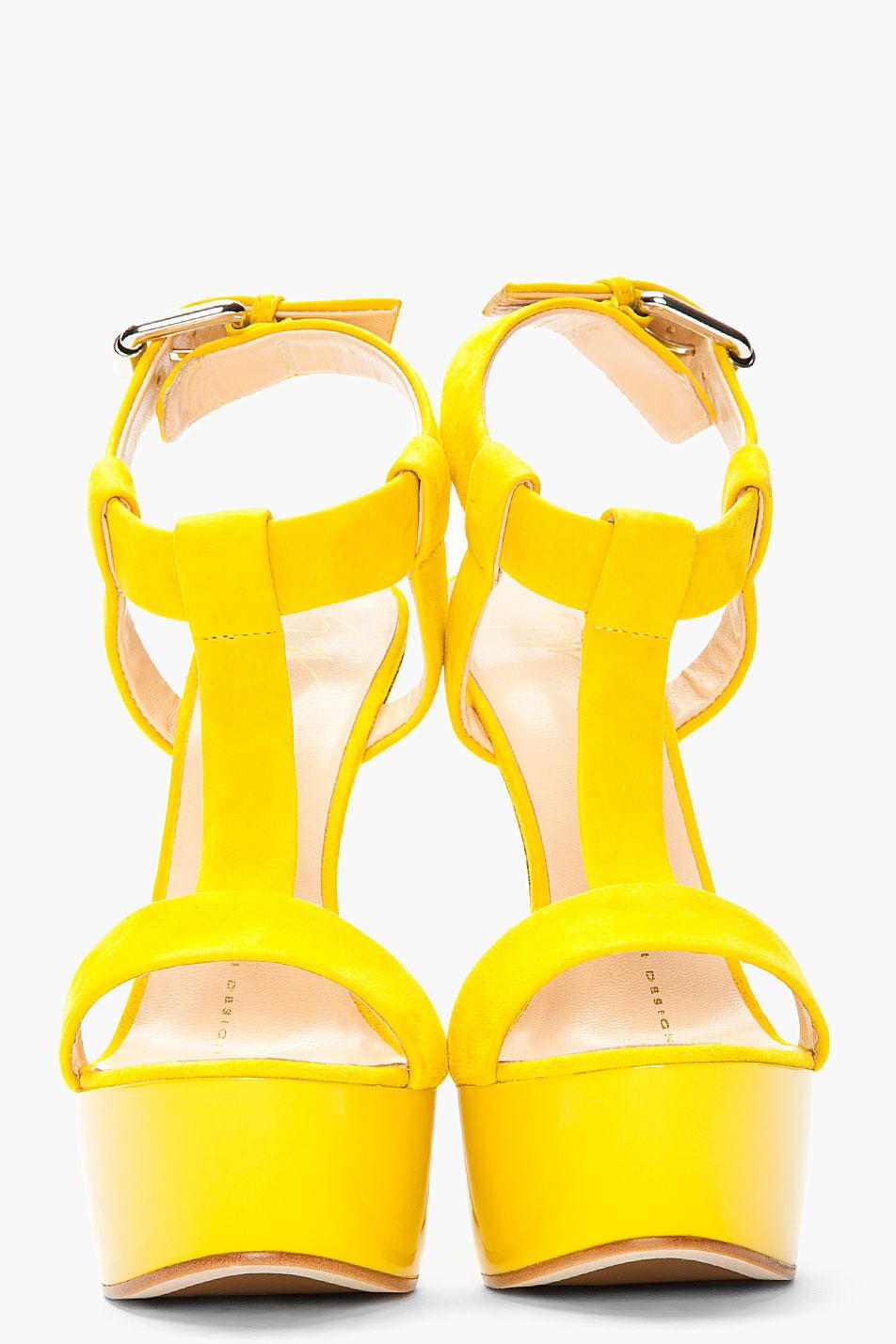 Giuseppe zanotti Dark Yellow Suede Tstrap Jem Heels in Yellow | Lyst