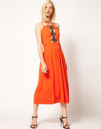 Sophia Kokosalaki Kore By Motif Lace Insert Midi Dress - Lyst
