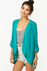 Nasty Gal Boardwalk Blazer Teal - Lyst