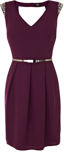 Oasis Embellished Holly Shift Dress in Purple