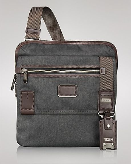Tumi Alpha Bravo Barstow Slim Crossbody Bag In Gray For
