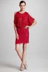 Aidan Mattox Coldshoulder Sequined Cocktail Dress - Lyst