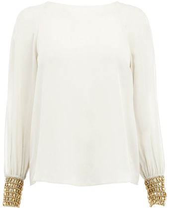 Bastyan Elinor Embellished Cuff Top - Lyst