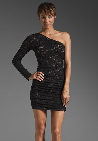BCBGMAXAZRIA One Shoulder Mini Lace Dress - Lyst