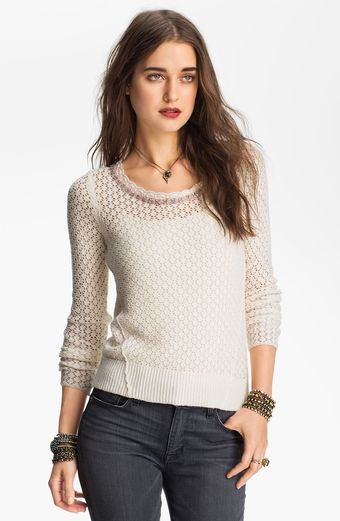 Free People Tie Back Pointelle Sweater - Lyst