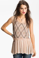 Free People Embellished Knit Peplum Top - Lyst