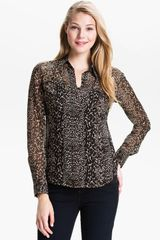 Lucky Brand Joan Animal Print Silk Blouse - Lyst