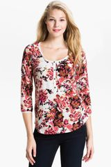Lucky Brand Kara Painterly Rose Henley Top - Lyst