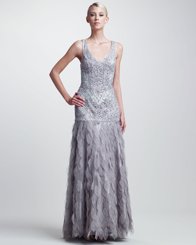 Sue wong Beaded Organzaskirt Gown in Gray | Lyst