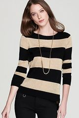 Vince Camuto High Low Lurex Stripe Sweater - Lyst