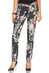 7 For All Mankind The Slim Cigarette Floralprint - Lyst