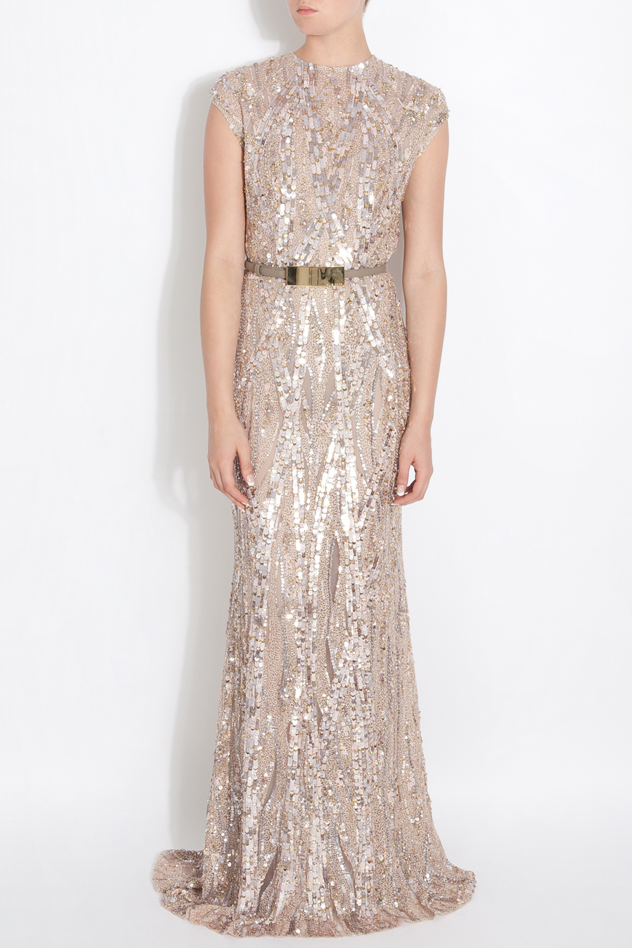 Lyst - Elie Saab Fully Sequin Gown in Pink 17a61d9da