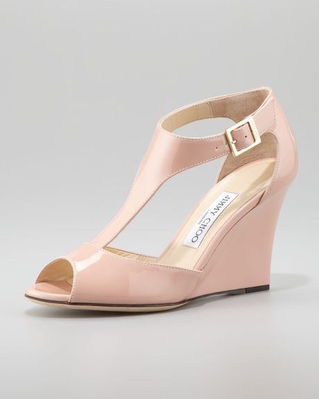 jimmy choo token patent tstrap wedge sandal blush in pink