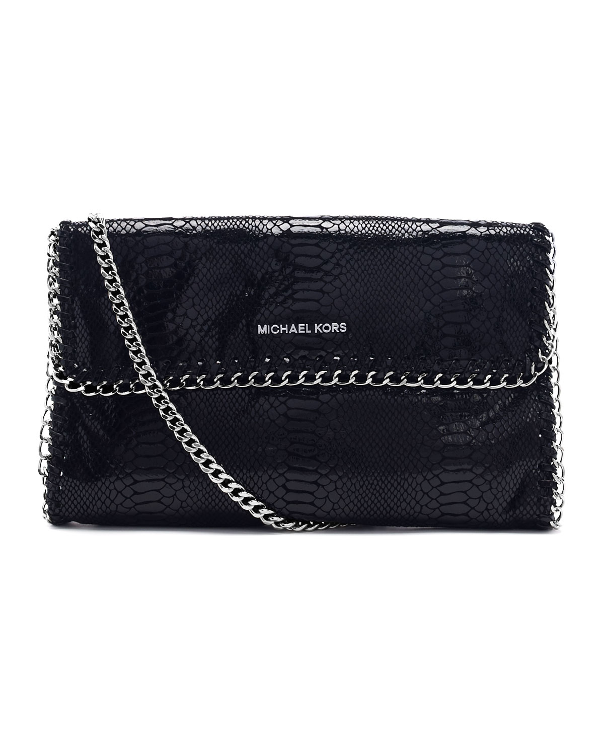 michael michael kors oversize chelsea pythonembossed clutch bag in black lyst. Black Bedroom Furniture Sets. Home Design Ideas
