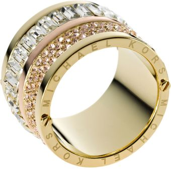 Michael Kors Multistone Barrel Ring Golden - Lyst