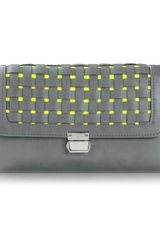 Poupee Couture Seville Clutch in Grey Neon Yellow - Lyst
