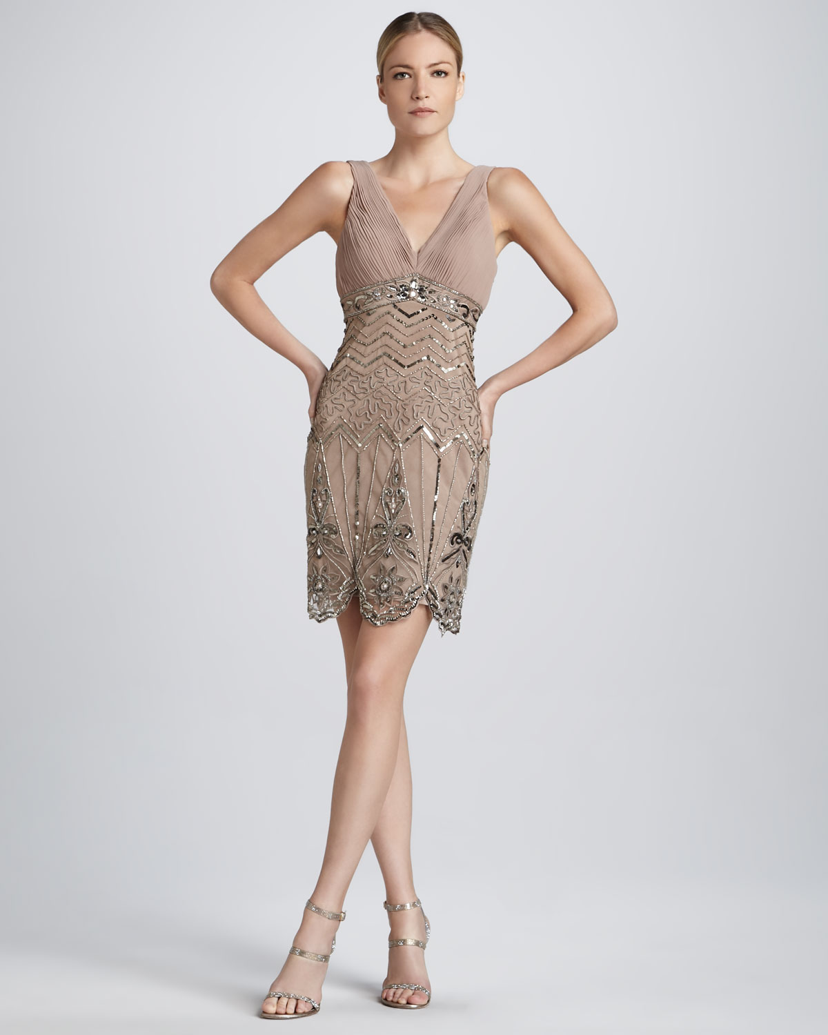 Sue wong Sleeveless Beaded Cocktail Dress in Natural | Lyst