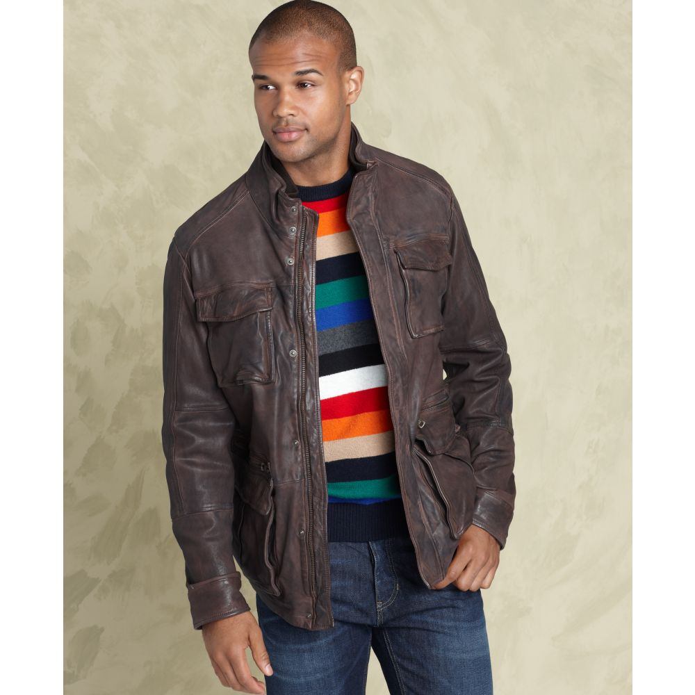 Lyst Tommy Hilfiger Sheene Leather Jacket In Brown For Men