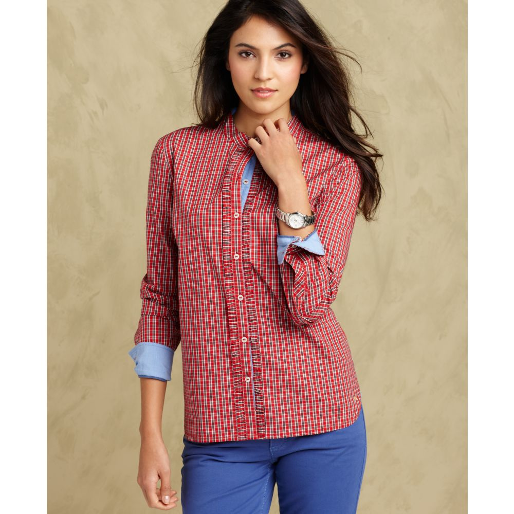 Tommy hilfiger long sleeve plaid button down shirt in red for Women s plaid button down shirts