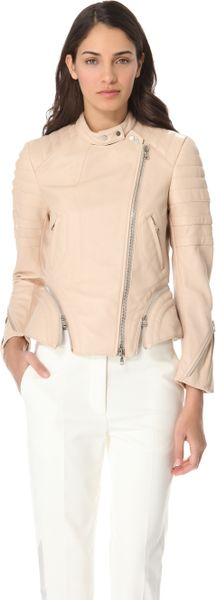 3.1 Phillip Lim Quilted Leather Jacket in Pink (nude) - Lyst
