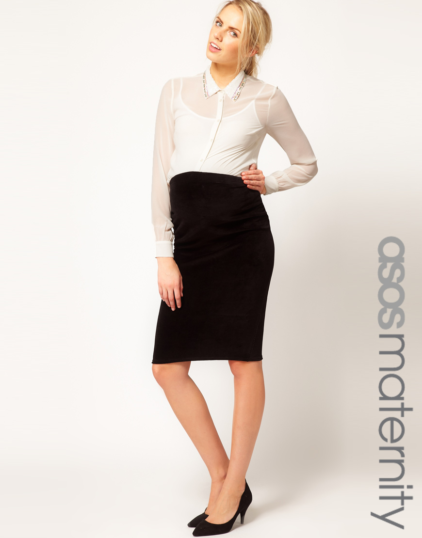 Asos Velvet Pencil Skirt in Black | Lyst