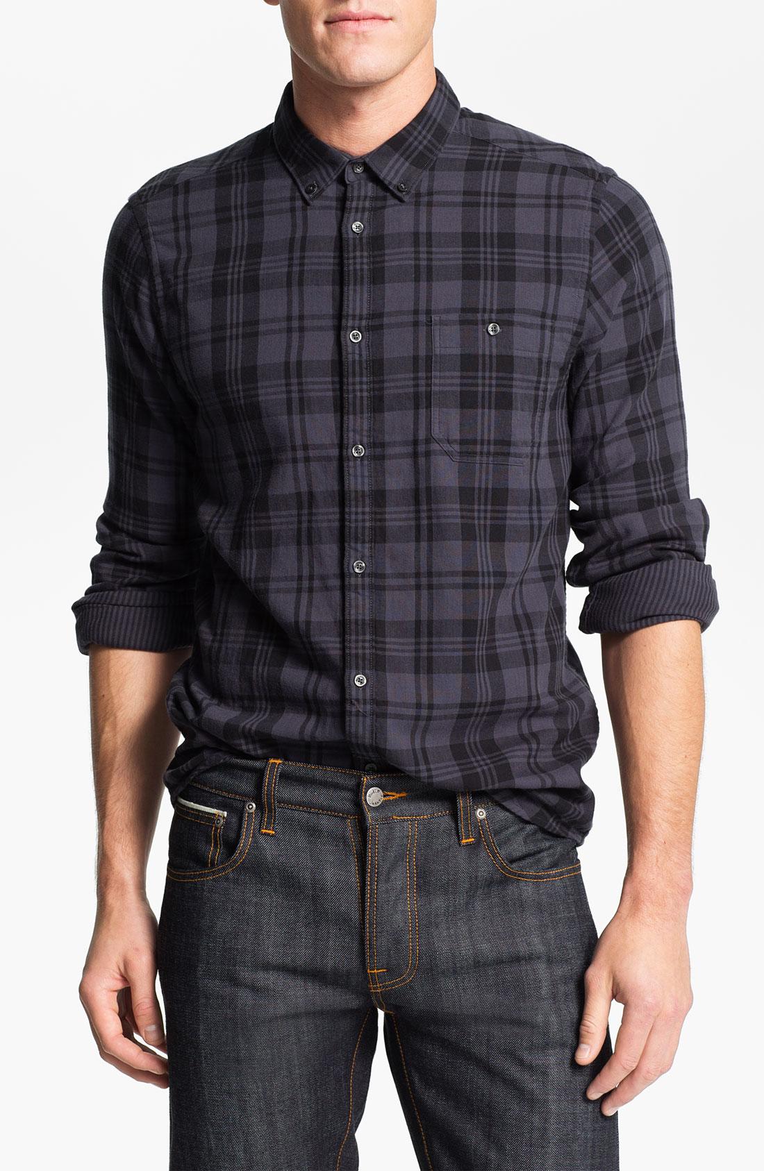 Ben Sherman Kensington Plaid Woven Shirt In Purple For Men