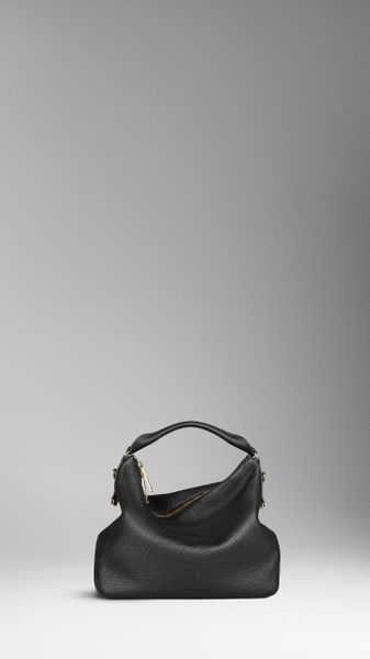 Burberry Medium Heritage Grain Leather Hobo Bag in Black